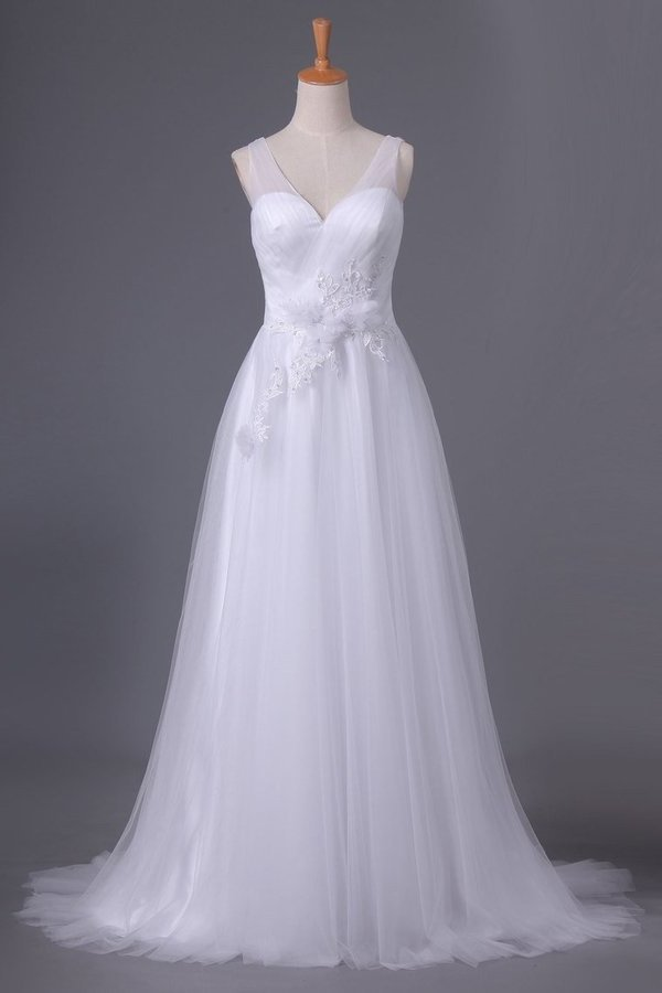 2020 A Line V Neck Open Back Wedding Dresses Tulle With Ruffles And Handmade P22NJLDS