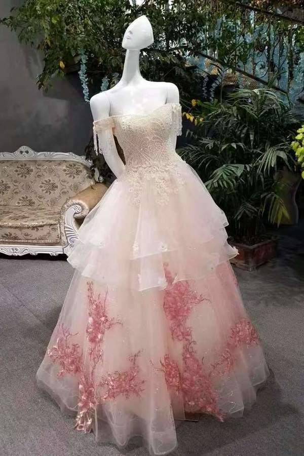2020 New Arrival Awesome Prom Dresses A-Line Zipper Up Off The Shoulder With Appliques PQMM1JFH