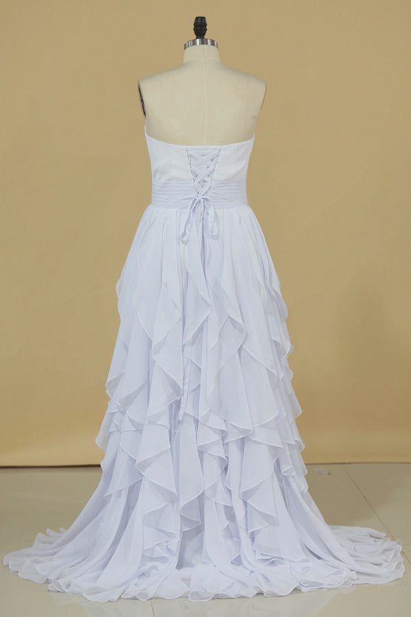 2020 New Arrival A Line Sweetheart With Ruffles And Beads Bridesmaid P4BFC455