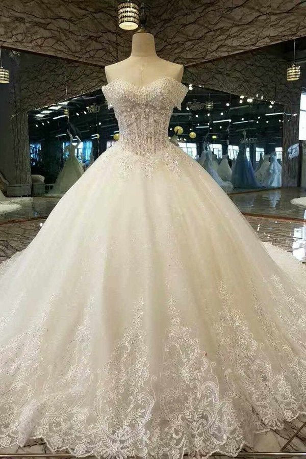 2020 New Arrival Awesome Wedding Dresses Off The Shoulder A Line With Crystals Royal Train Tulle Lace P42AYDG3