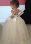 Tulle Applique Spaghetti Straps Backless Flower Girl Dresses Lovely Tutu Dresses