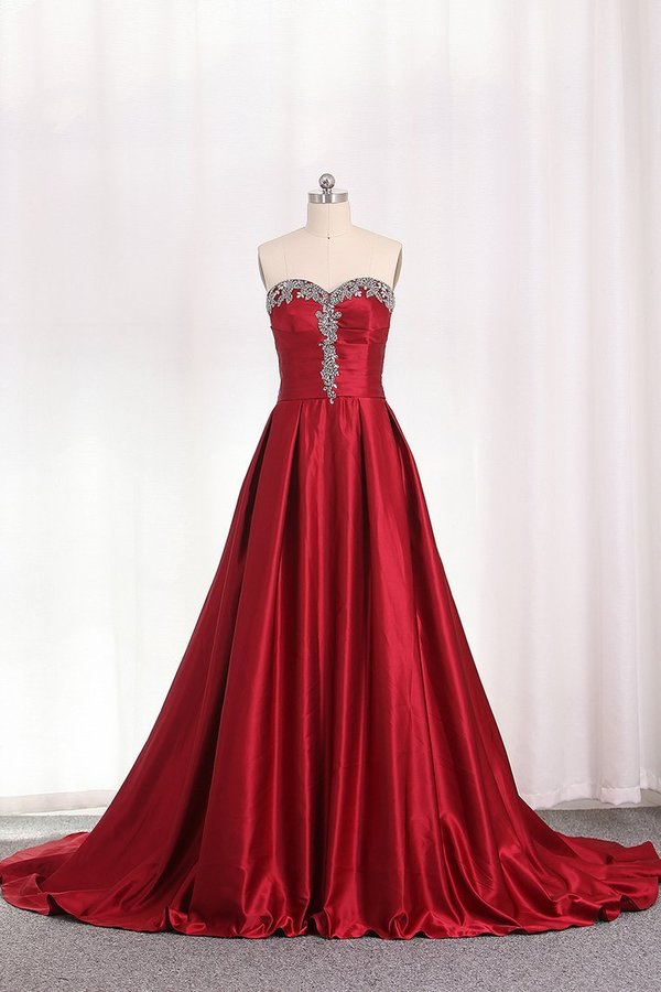 2020 A Line Sweetheart Evening Gown With Beads And Ruffles PX43A7CJ