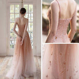 Open Back Spaghetti Straps Prom Dresses Ombre Tulle V Neck Pink Beauty Prom Gowns