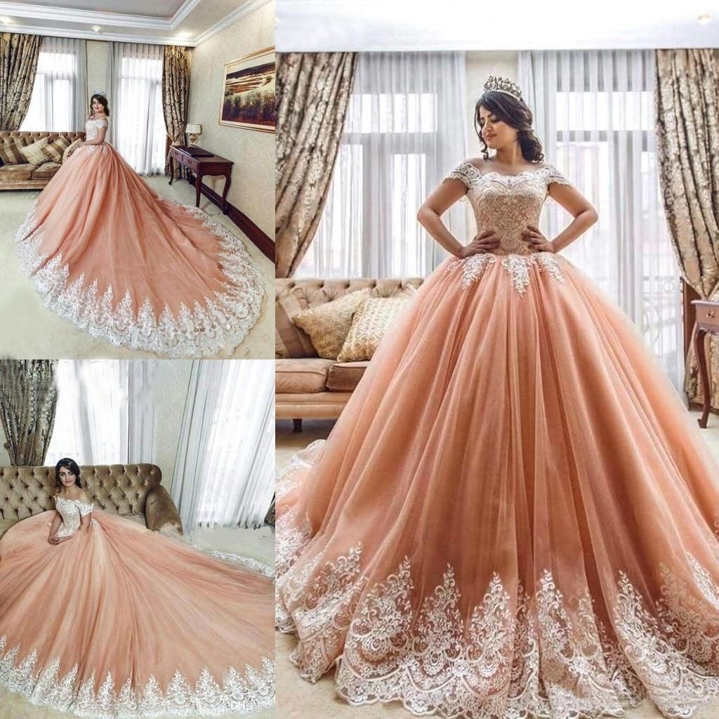 Off the Shoulder Ball Gowns Prom Dresses Lace Appliques Tulle Pink Quinceanera Dresses