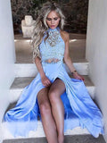 Sexy High Slit Two Piece Lace Blue Long Chiffon High Neck Sleeveless Prom Dresses