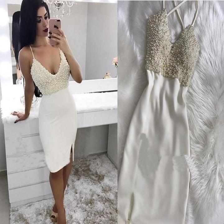 Mermaid Spaghetti Straps V Neck Ivory Beads Short Prom Dress Homecoming Dresses