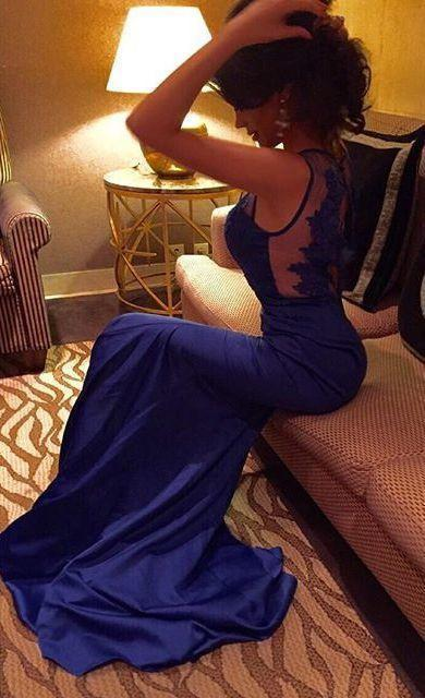Royal Blue Backless Long Charming Evening Dress Formal Women Dress Prom Dresses