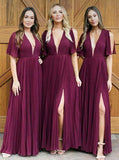 Long Deep V Neck Pleats Dark Red Chiffon Split Bridesmaid Dress Long Prom Dresses
