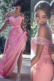 Pink Sheath Off-the-Shoulder Sweep Train Prom Dress with Lace Sash Ruffles