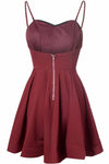 Simple A-Line Spaghetti Straps Satin Burgundy Short Homecoming Dress With Pleats