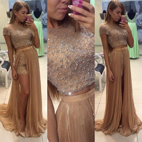 Pd12223 Charming Prom Dress O-Neck Prom Dress A-Line Chiffon Noble Two Pieces Prom