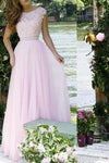 Pink Lace Bodice Prom Dresses Modest Long Evening Gowns For Formal Women Party Gown