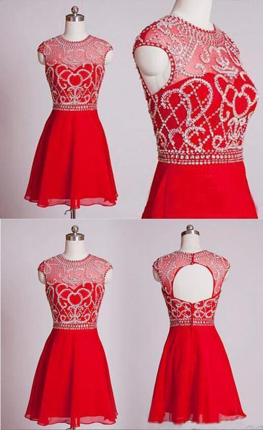 Red Short Homecoming Dresses Homecoming Gown Party Dress Sparkle Prom Gown