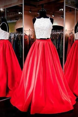 Two-piece Square Neck Red Real Made Prom Dress Sexy Prom Dress for Teens Party Dresses