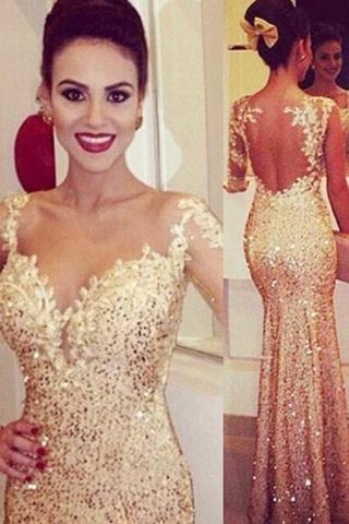 Mermaid Sweetheart Long Sleeves Gold Backless Evening Dresses with Appliques
