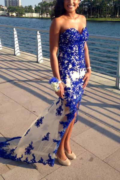Simple Sweetheart Lace Long Spaghetti Straps Blue Appliques Mermaid Prom Dresses