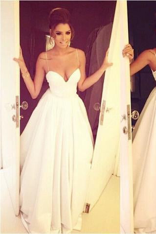 Simple Spaghetti Straps Satin White Long Ruffled Long Graduation Dresses Wedding Dress