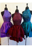 Unique A Line High Neck Taffeta with Beads Short Prom Dresses Homecoming Dresses