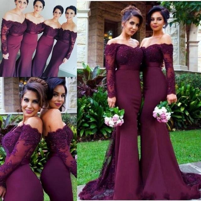 New Arrival Off-the-Shoulder Wine Red Trumpet Long Sleeve Mermaid Bridesmaid Dresses