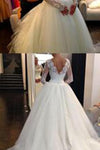 Sexy Lace Long Sleeves Backless A-Line High Neck Tulle Applique Beaded Bridal Gowns