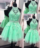 Sexy Halter Tulle Short New Arrival Appliques Cute Mini Homecoming Dress