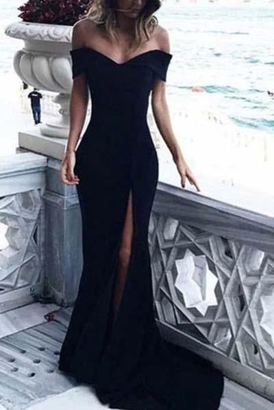 Sexy Leg Slit Long Off-the-Shoulder Jersey Sweetheart Mermaid Black Prom Dresses