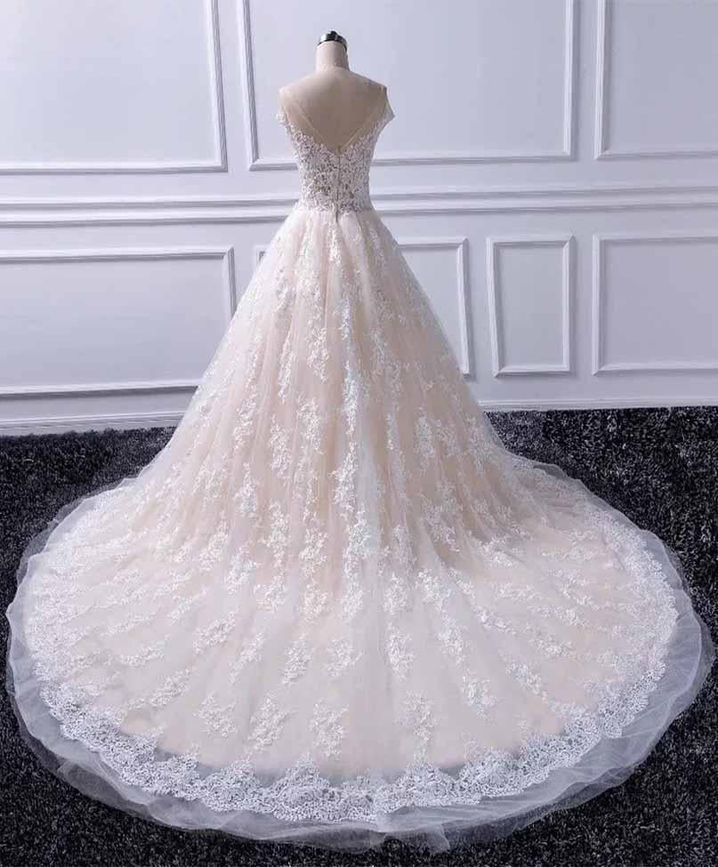 Unique A Line Lace Appliques Cap Sleeves Ivory V Neck Beads Wedding Dresses