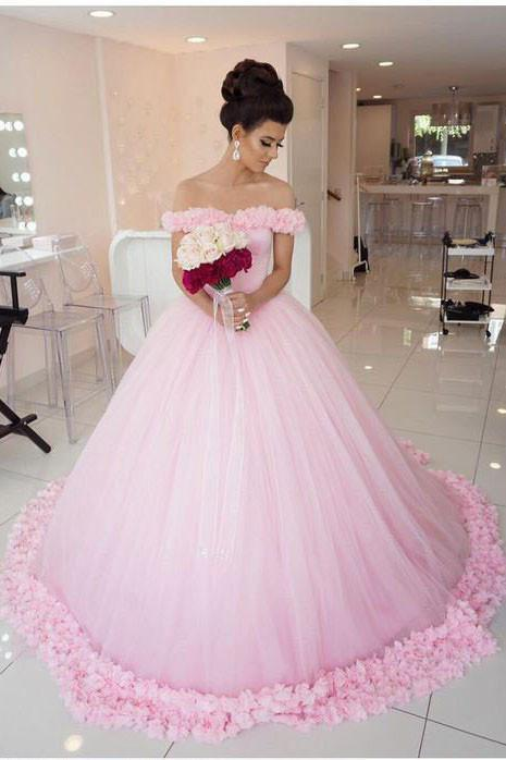 Pink Long Sleeveless Flowers Off the Shoulder Lace up Tulle Ball Gown Wedding Dresses