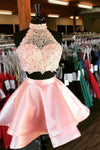 Princess Halter 2 Piece A-line Open Back Sleeveless Lace Mini Short Homecoming Dress