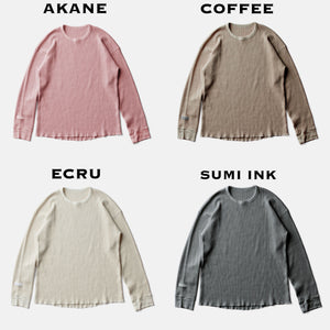 SILK NOEL ORGANIC WAFFLE LONG SLEEVEーCOFFEE
