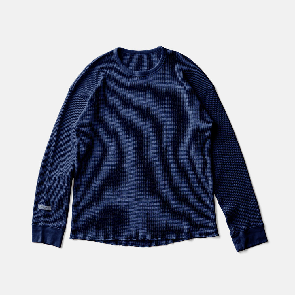 SILK NOEL ORGANIC WAFFLE LONG SLEEVEーAUTHENTIC INDIGO