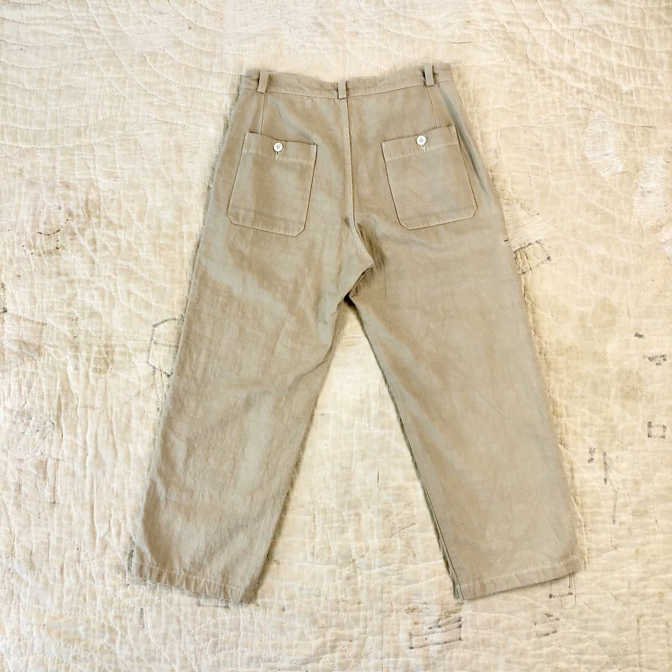 """ITTO UNSAI"" COTTLE WIDE PANTS-HINOKI"