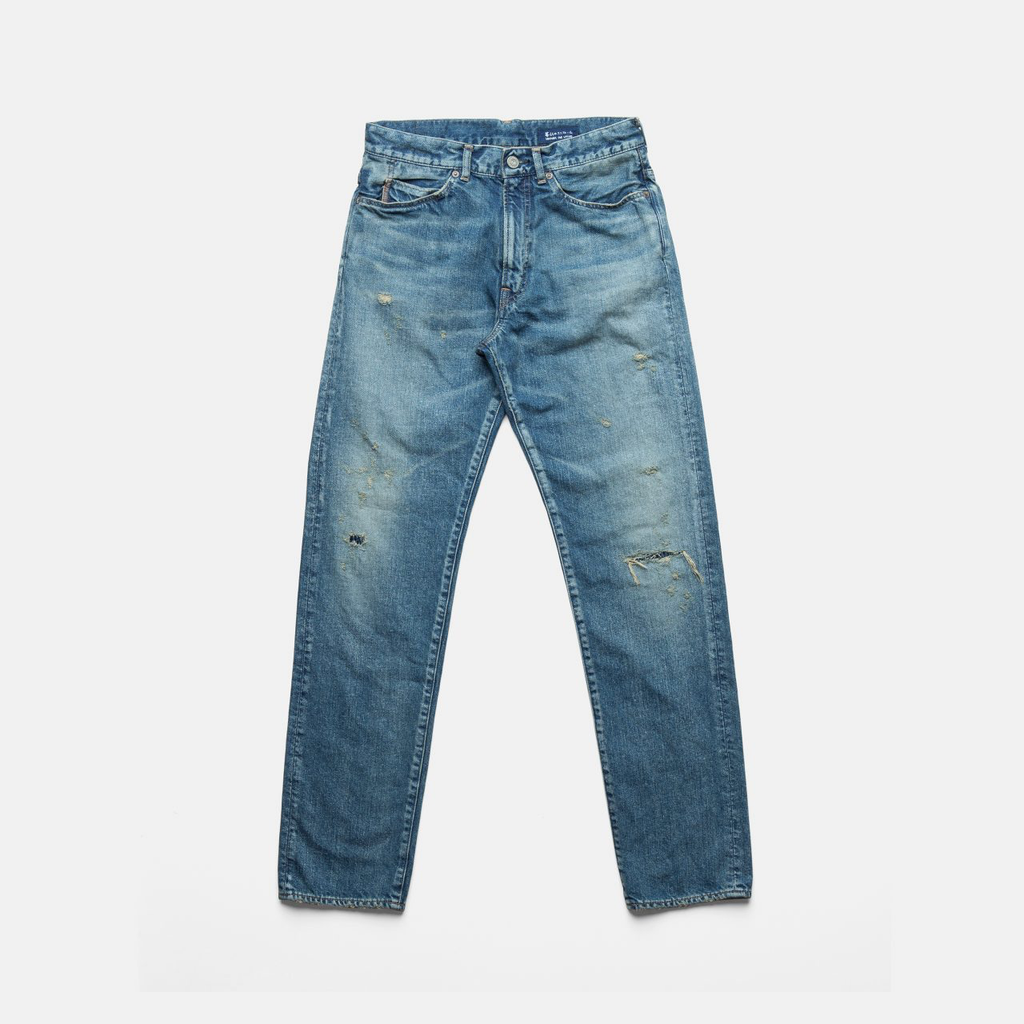 C. T. L SLIM STRAIGHT DENIM PANTS-BENGARA(INDIAN RED) / PATCH INDIGO