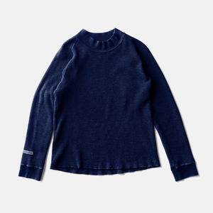 SILK NOEL ORGANIC WAFFLE MOCK NECKーAUTHENTIC INDIGO
