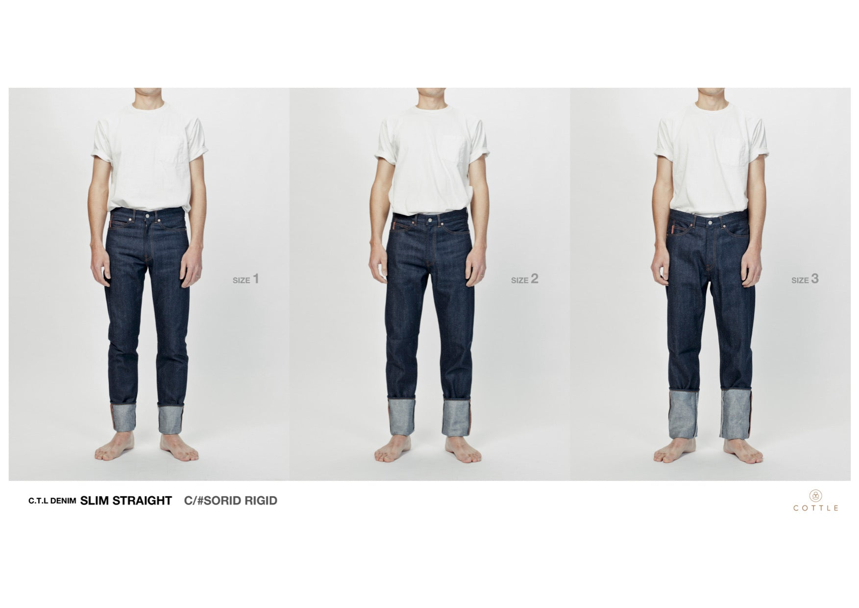 C.T.L SLIM STRAIGHT DENIM PANTS-BENGARA(INDIAN RED) / DARK INDIGO