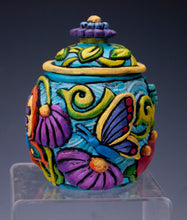 Load image into Gallery viewer, Bright Floral/Butterfly jar