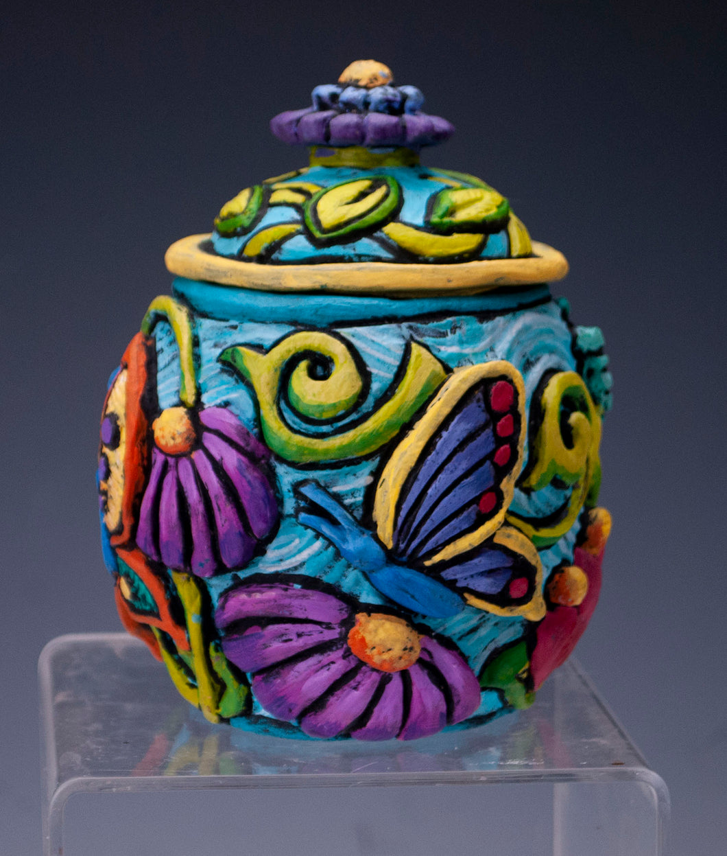 Bright Floral/Butterfly jar