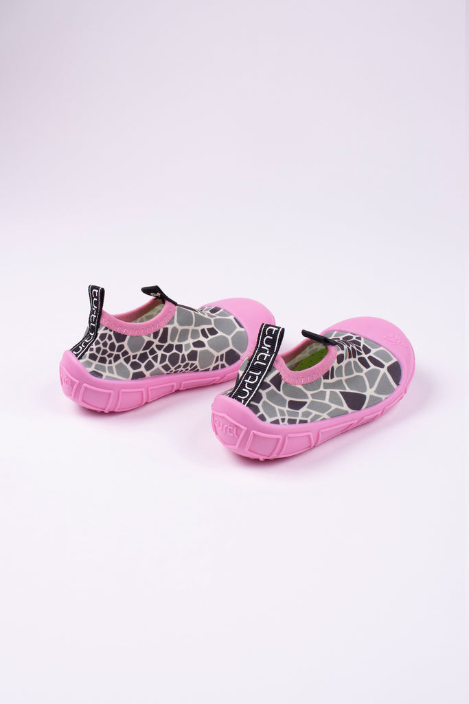 aqua shoes in pink with turtle shell print