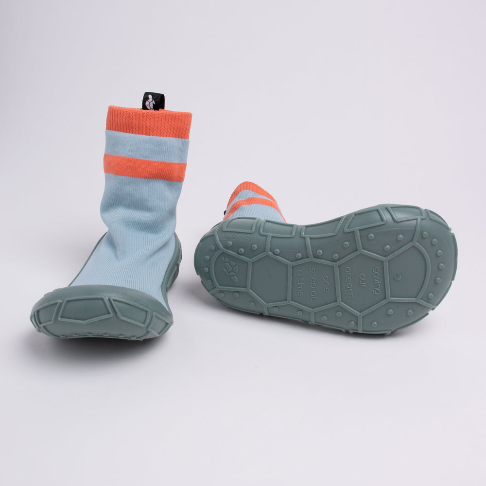 socks in a shell for kids in duck egg blue
