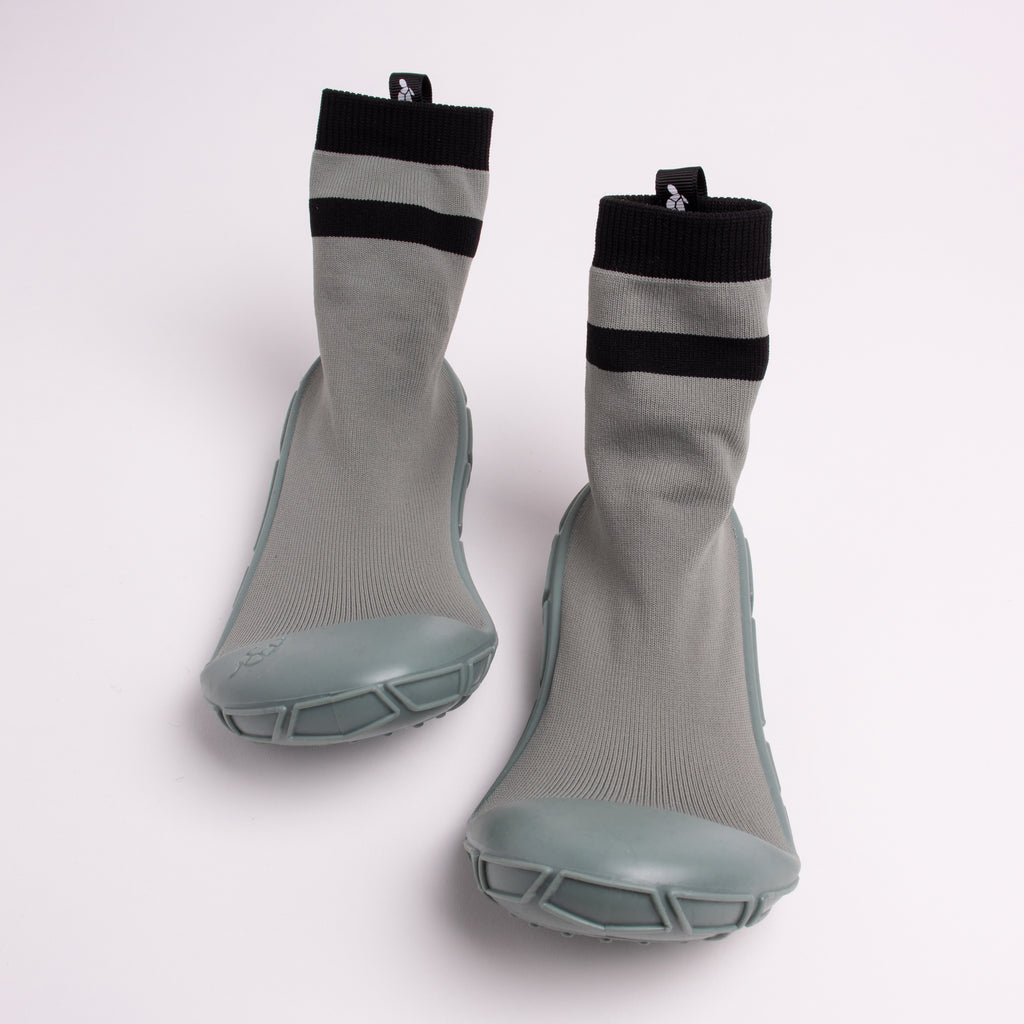 socks in a shell for kids in khaki green