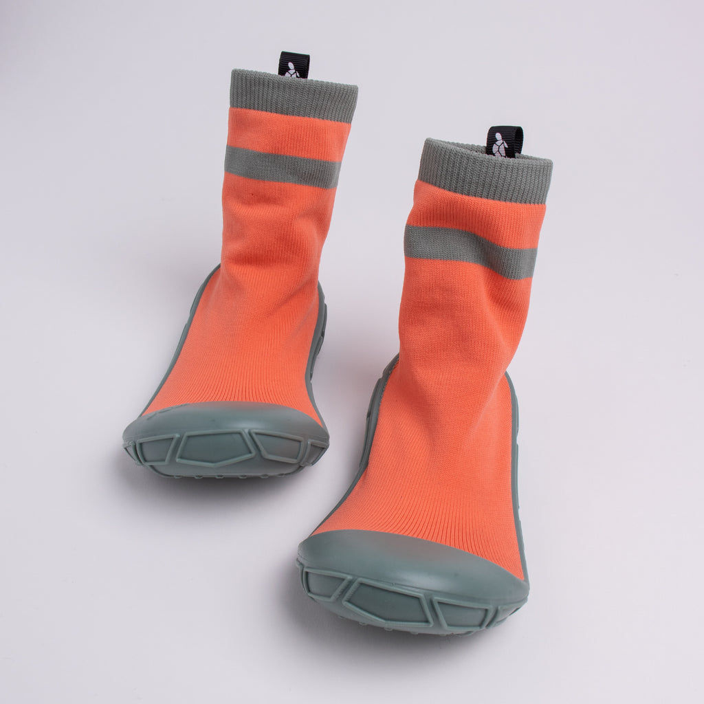 socks in a shell for kids in orange