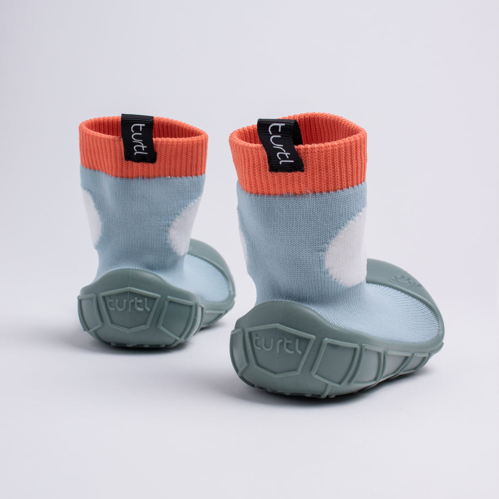 socks in a shell for tots in duck egg blue