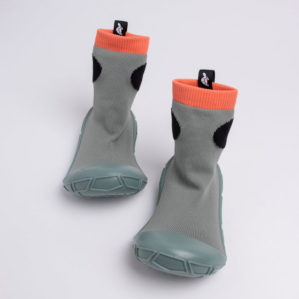 socks in a shell for tots in khaki green