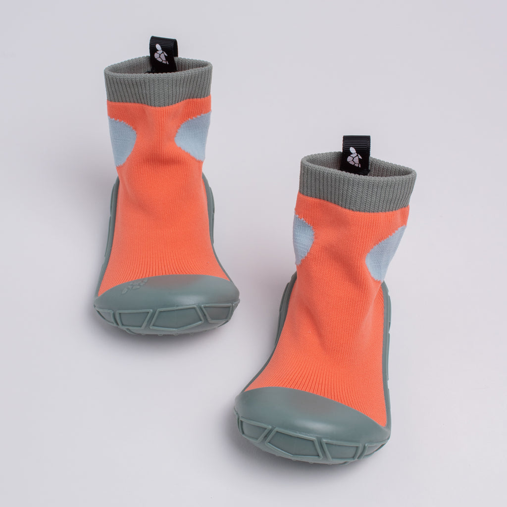 socks in a shell for tots in orange