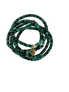 Stack - African Record Beads -  Kelly Green | Black