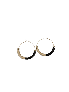Hoop Earrings - African Record Beads | Cream | Black