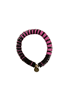 Bracelet - African Record Beads | Pink | Black Stripes