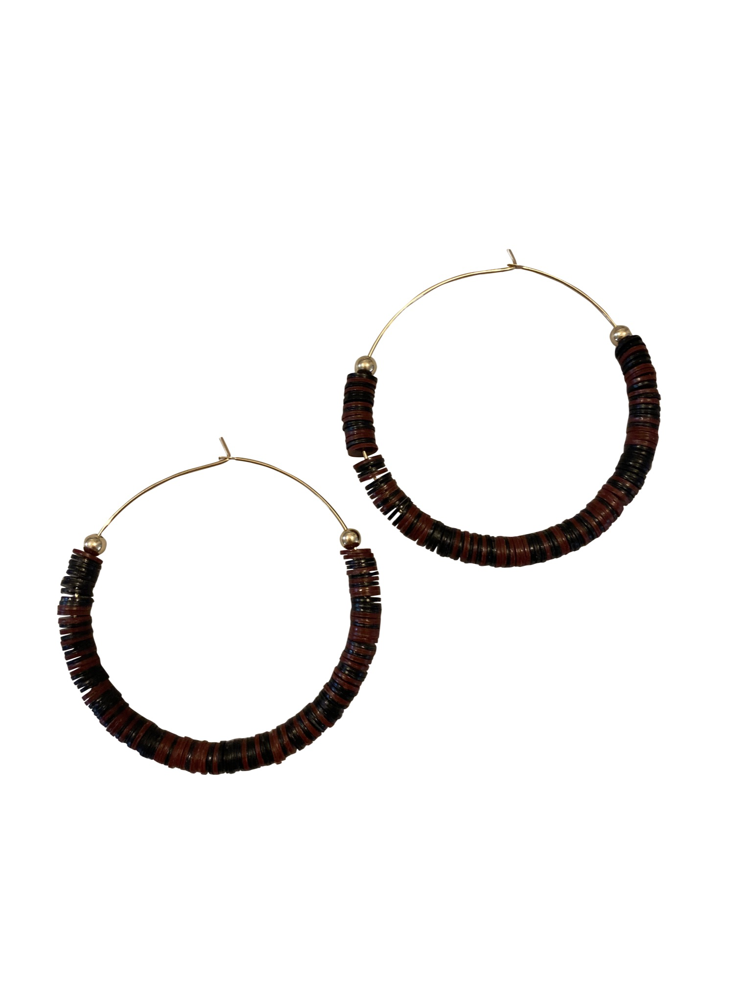 Hoop Earrings - African Record Beads | Black | Maroon