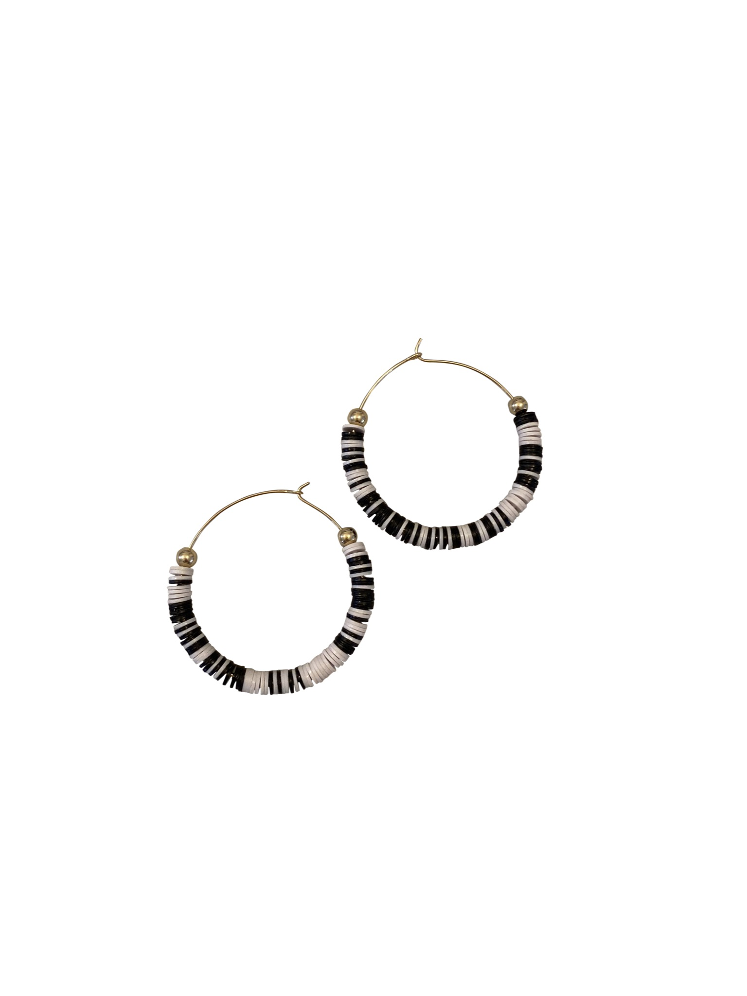 Hoop Earrings - African Record Beads | Black | White