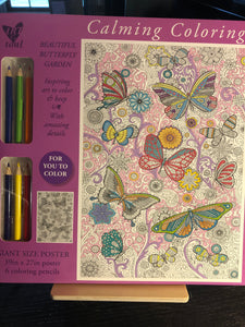 Butterfly Garden Calming Coloring Poster Kit